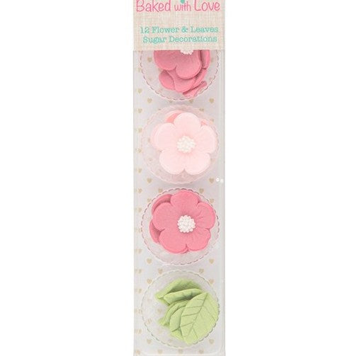 Flowers & Leaves Cupcake Decorations, 26mm, 12 Piece