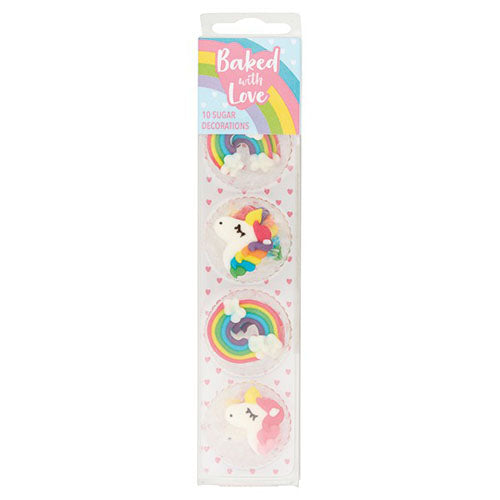 Unicorn & Rainbow Sugar Piping Cake Decorations, 10 Piece