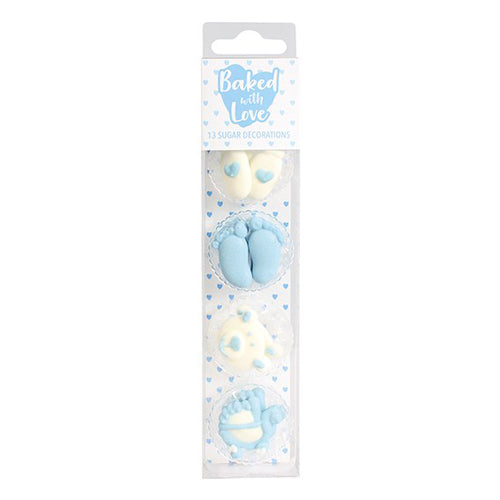 Baby Blue Sugar Cupcake Decorations, 13 Piece
