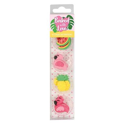 Tropical Flamingo Sugar Cupcake Decorations, 10 Piece