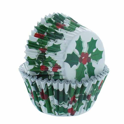 Holly & Berry Foil Lined Baking Case, Pack Of 25