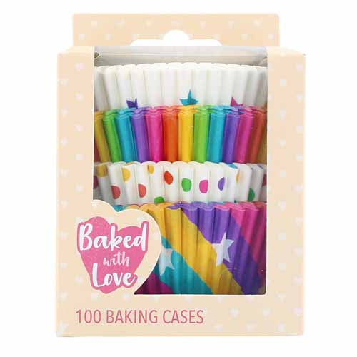 Rainbow Baking Cases, Pack Of 100