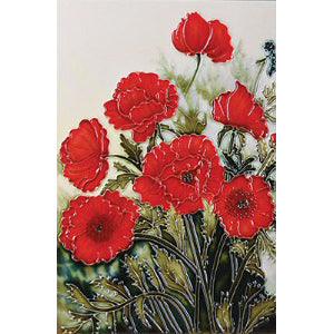 "Benaya Art Ceramic Tiles 'Classic Poppies', 8"" x 12"""