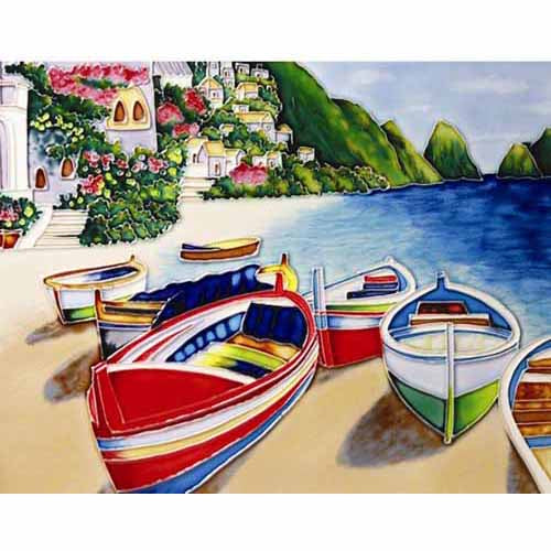 "Benaya Art Ceramic Tiles 'Colourful Boats', 11"" x 14"""