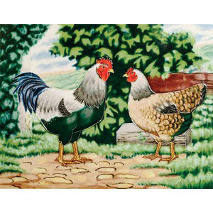 "Benaya Art Ceramic Tiles 'A Fine Pair', 11"" x 14"""