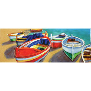 "Benaya Art Ceramic Tiles 'Colourful Boats', 6"" x 16"""