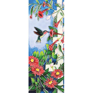 "Benaya Art Ceramic Tiles 'Hummingbirds Paradise', 6"" x 16"""