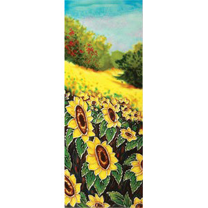 "Benaya Art Ceramic Tiles 'Hillside Sunflowers', 6"" x 16"""