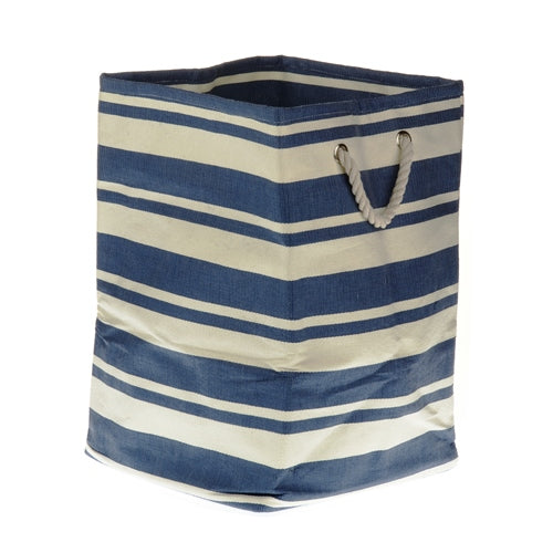 New England Stripped Canvas Storage Cube, Navy