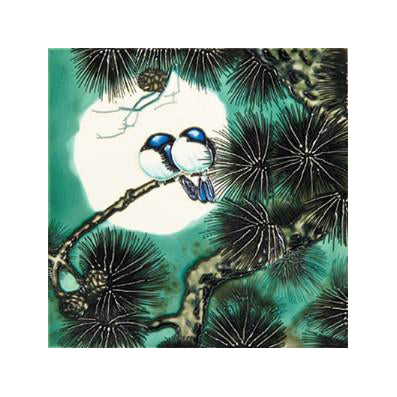 "Benaya Art Ceramic Tiles 'Love Birds', 8"" x 8"""