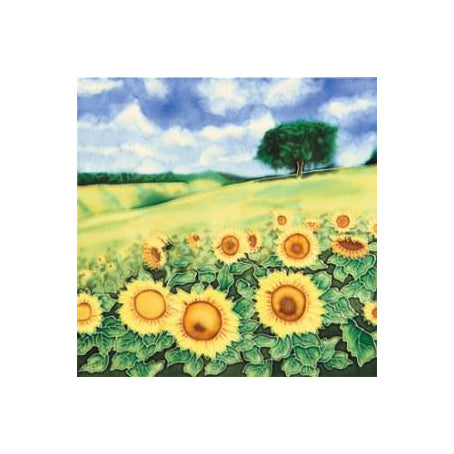 "Benaya Art Ceramic Tiles 'Sunflower Field', 8"" x 8 """