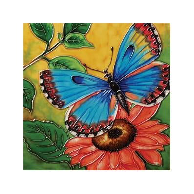 "Benaya Art Ceramic Tiles 'Butterfly Beauty 1', 8"" x 8"""