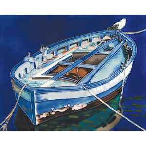 "Benaya Art Ceramic Tiles 'Anchored Boat', 11"" x 14"""