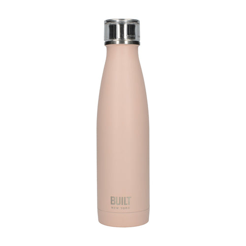 Built Double Walled Stainless Steel Water Bottle, 17oz, Pale Pink
