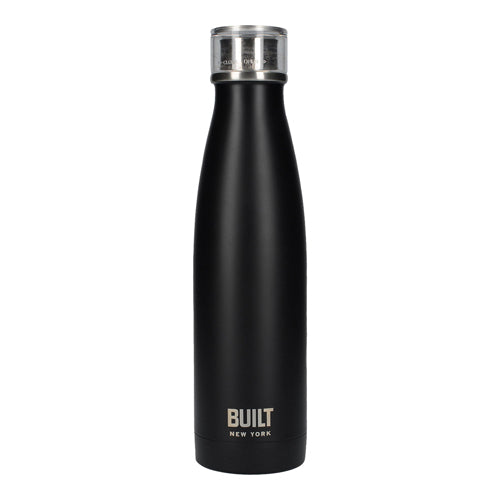 Built Double Walled Stainless Steel Water Bottle, 17oz, Black
