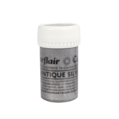 Sugarflair Satin Paste Colour, 25g, Antique Silver
