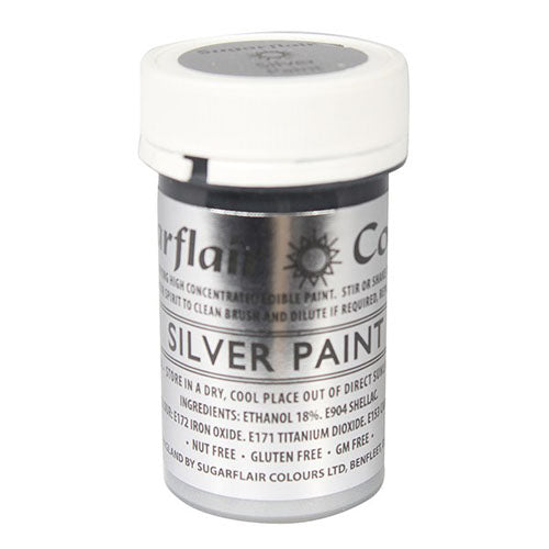 Sugarflair Edible Paint, 20g, Silver