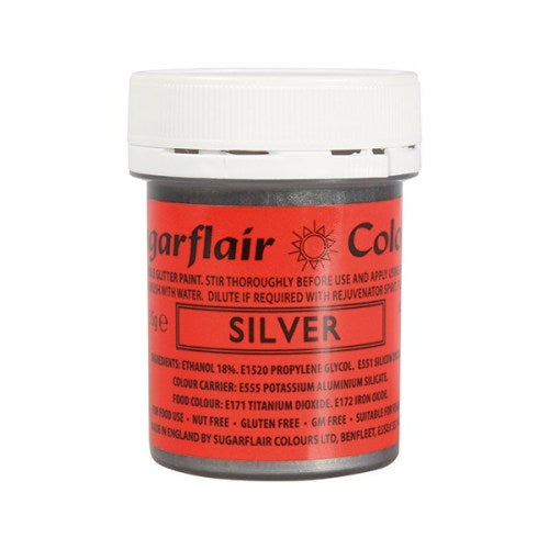 Sugarflair Edible Glitter Paint, 35g, Silver