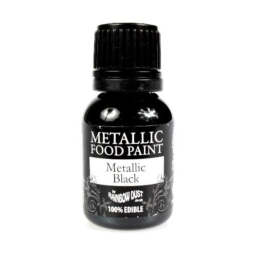 Rainbow Dust Edible Metallic Food Paint, 25ml, Black