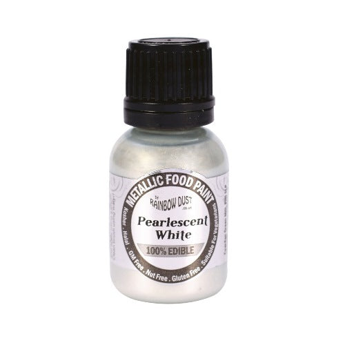 Rainbow Dust Edible Metallic Food Paint, 25ml, Pearlescent White