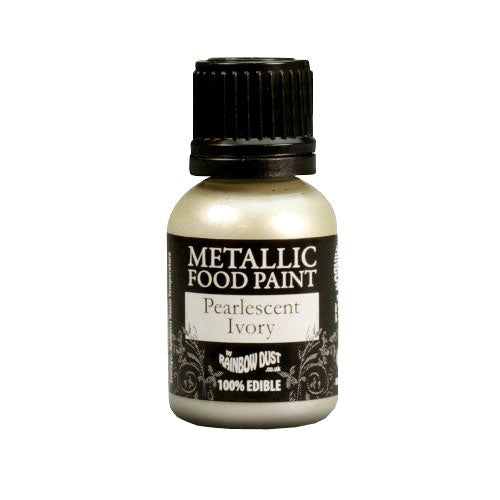 Rainbow Dust Edible Metallic Food Paint, 25ml, Pearlescent Ivory