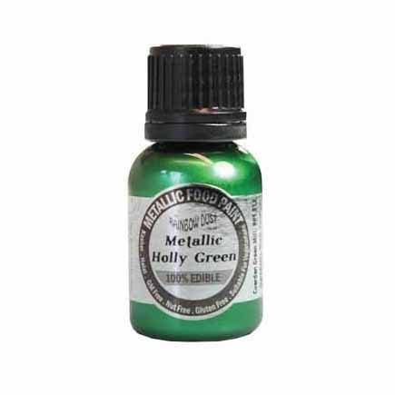 Rainbow Dust Edible Metallic Food Paint, 25ml, Metallic Holly Green