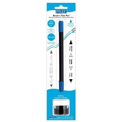 PME Brush n Fine Refillable Pen, Sea Blue