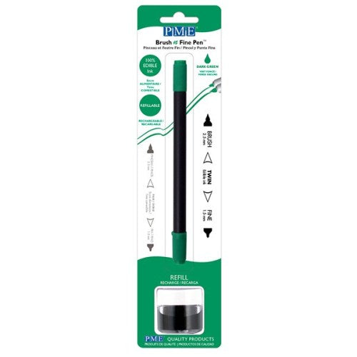 PME Brush n Fine Refillable Pen, Dark Green