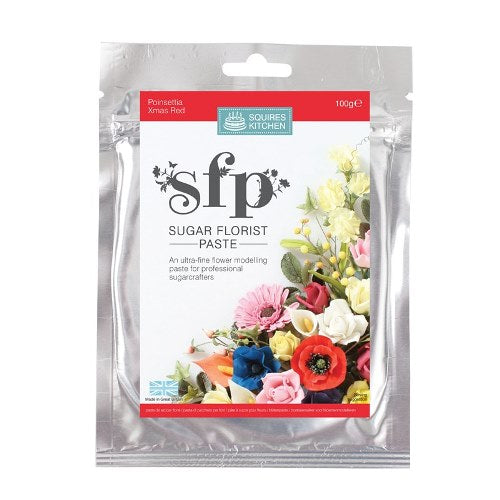 Squires Sugar Florist Paste, 100g, Poinsettia/Christmas Red