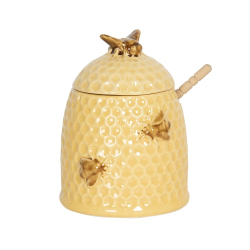 Ceramic Honey Jar With Spoon, Yellow