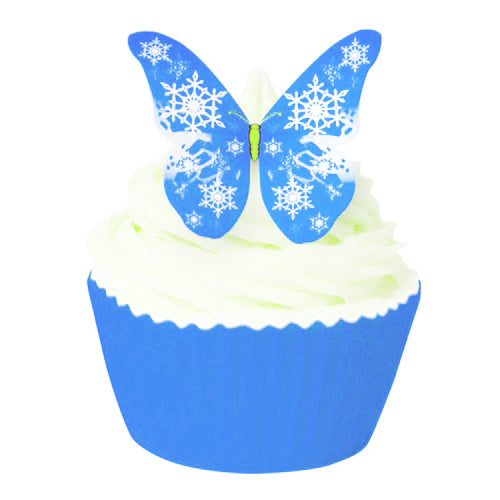 Edible Wafer Butterfly Toppers, Blue Snowflake, Pack of 12