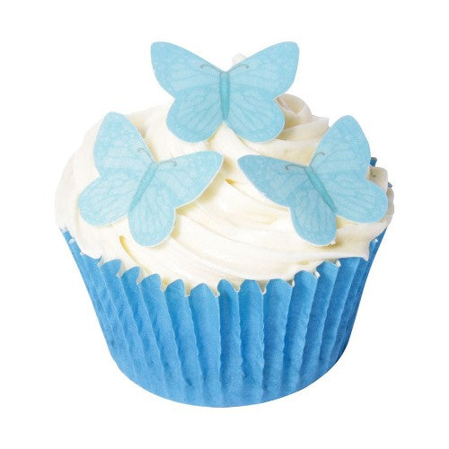 Small Edible Wafer Butterfly Cake Toppers, Pack of 42, Blue