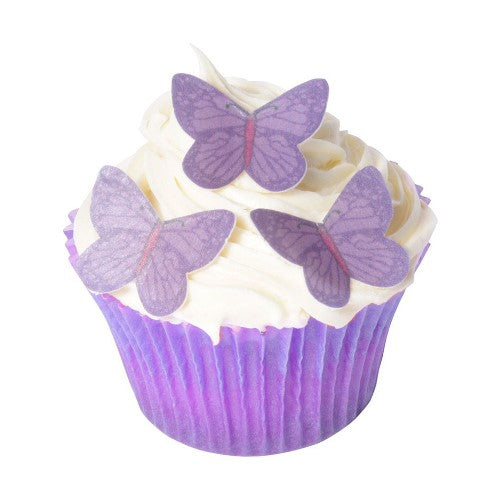 Small Edible Wafer Butterfly Cake Toppers, Pack of 42, Purple