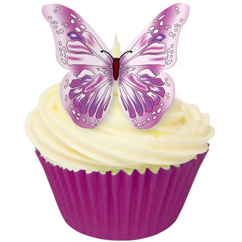 Pink/Purple Butterfly Edible Wafer Decorations, Pack of 12
