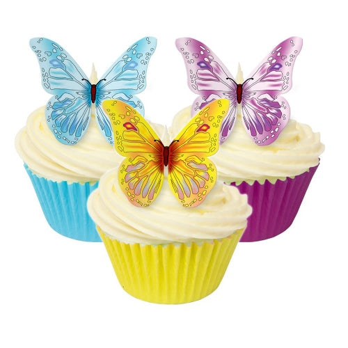 Edible Wafer Cake Decorations, Pack Of 12, Assorted Colourful Butterflies