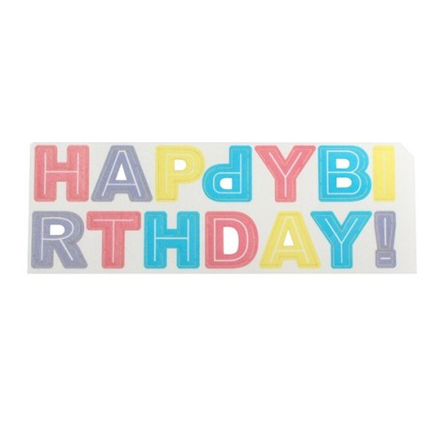 Happy Birthday Letter Wafer Decoration, Pastel