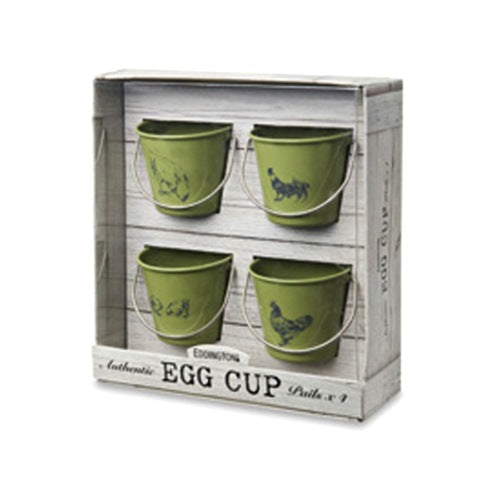 Eddingtons Rooster & Hen Egg Pails, Set Of 4, Sage