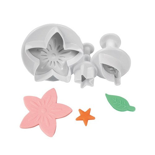Cake Star Plunger Cutters, Set Of 3, Flower, Leaf & Star