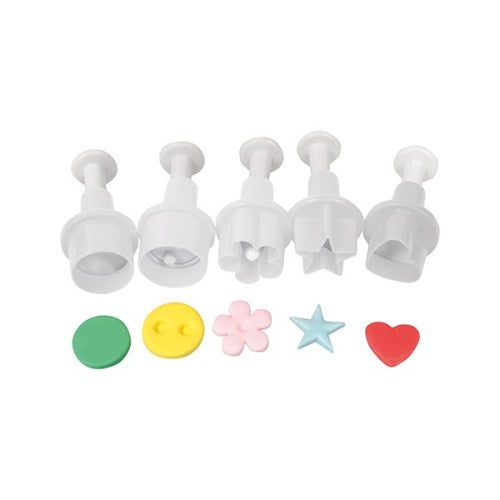 Cake Star Mini Plunger Cutters, Set Of 5, Circle, Button, Blossom, Star & Heart