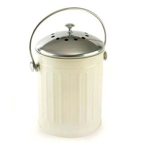 Deluxe Compost Pail With Stainless Steel Lid, Soft Sage Green
