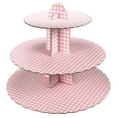 3 Tier Pink Gingham Cupcake Stand