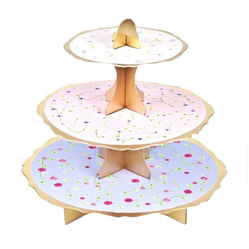 3 Tier Floral Cupcake Stand
