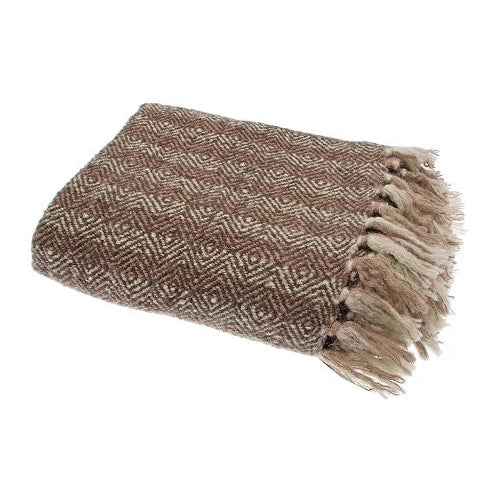 Walton & Co Diamond Stripe Throw, Brown/Beige
