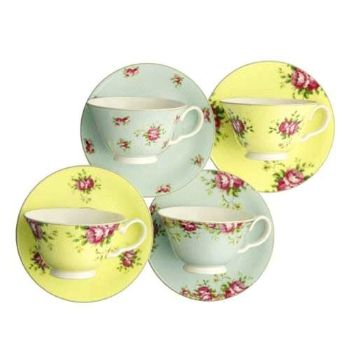 Aynsley Archive Rose Teacups & Saucers, Set Of 4
