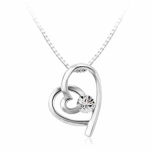 Swarovski Heart Birthstone Pendant, April/Diamond