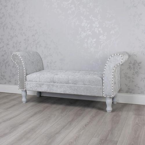 Grey Crushed Velvet Storage Bench