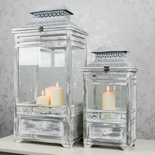 Selby Distressed Lantern With Drawers, Small, Grey