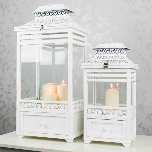 Selby White Lantern With Drawer, Small