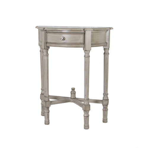 Oyster Grey 1 Drawer Half Moon Console Table