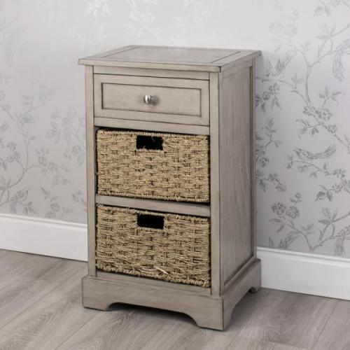 Oyster Grey 1 Drawer 2 Basket Storage Unit